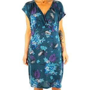 Torrid Midi Dress Size 2 Blue Floral Empire Waist